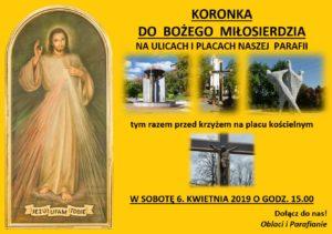 Koronka do Bożego Miłosierdzia na ulicach i placach naszej parafii
